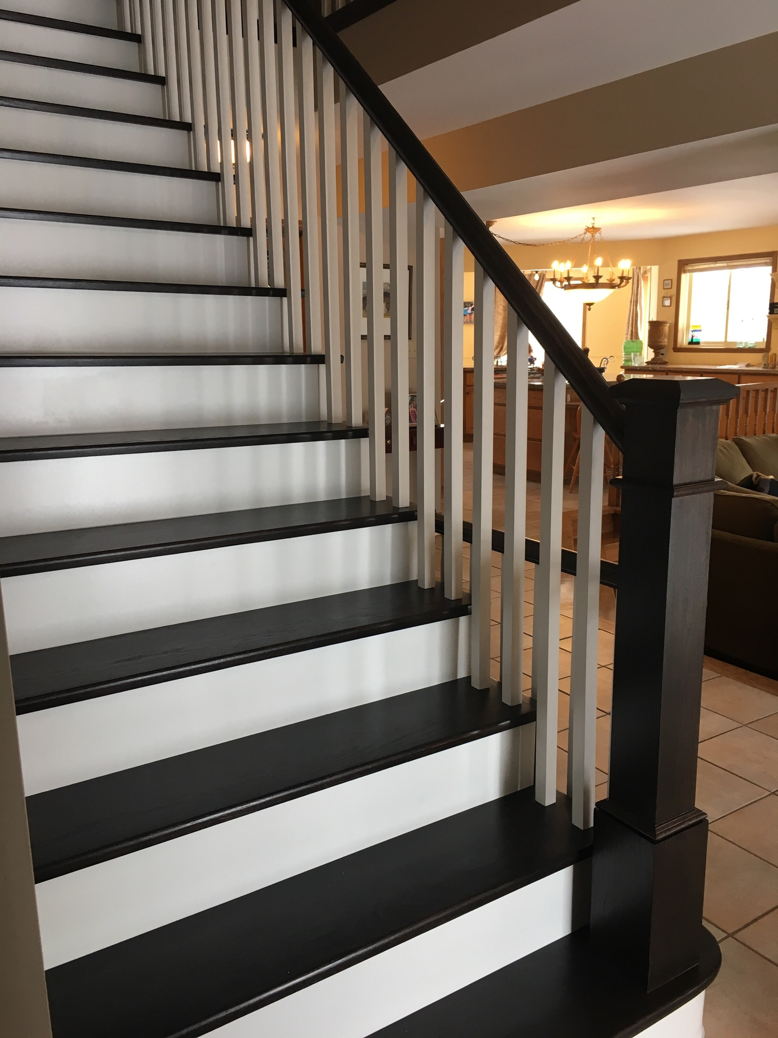 Claremont – Harmony Hardwood Stairs | Dark Stained Stairs With White Risers | Restain | Tread | 2 Colour | Staining | Glossed