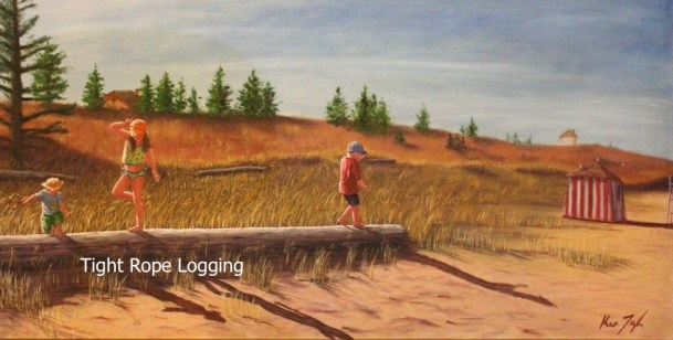 Kids-on-PEI-North-Shore-Beach-Tight-Rope-Logging-24x48-inches-Oil-on-Canvas-Kris-Taylor-Art copy