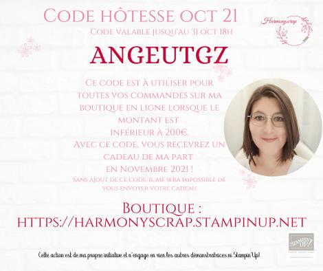 Affiche du code hôtesse du mois d'octobre