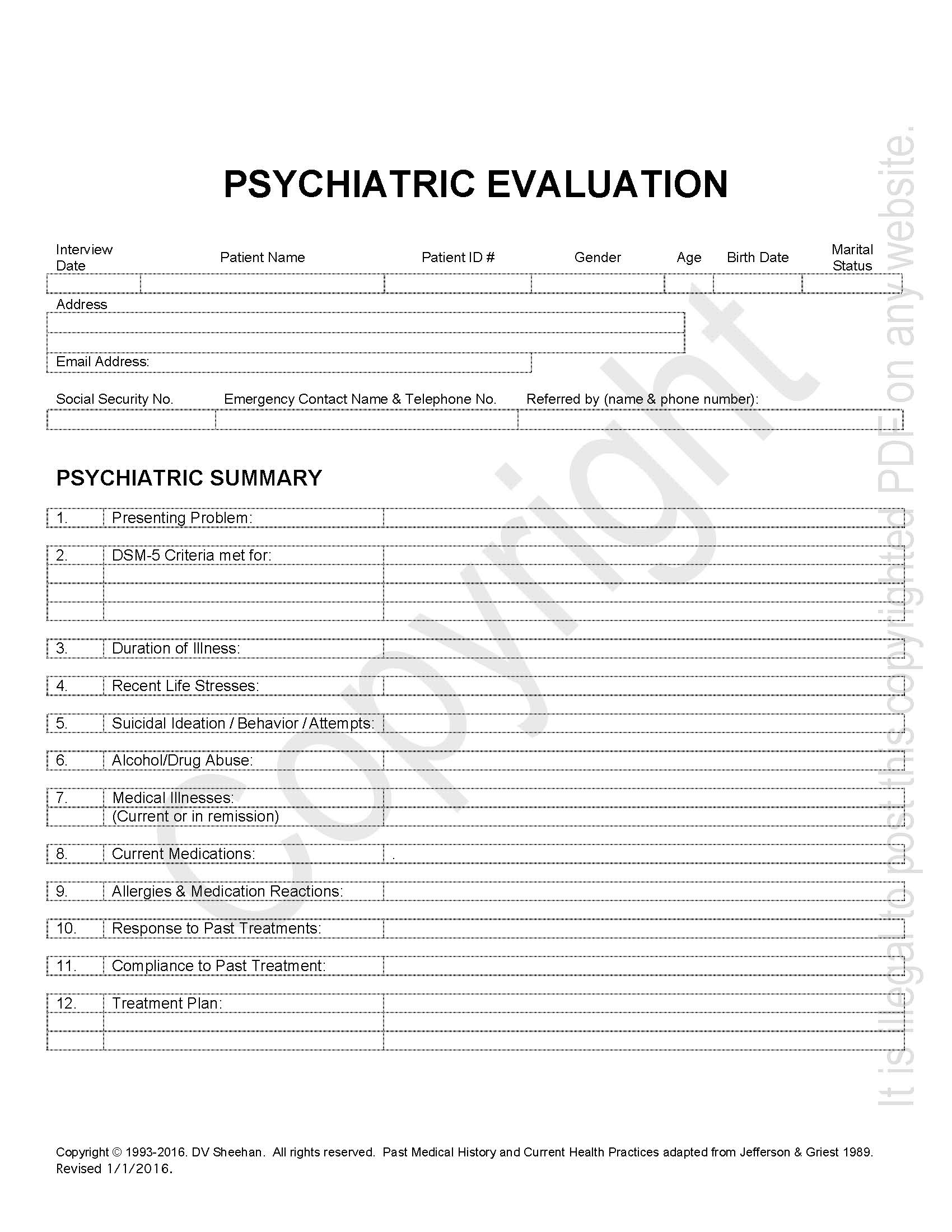 psychiatric history template harm research