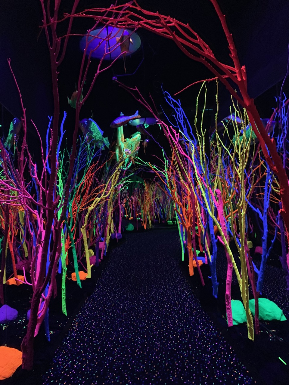 A blacklit corridor meant to resemble being under the sea