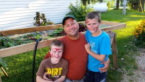 The boys used one of the beets that was way to small to make warrior paint.