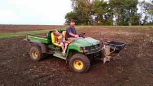 Thank you to FarGaze Farms/Peterson Family for the gator and seed spreader. It made it much quicker and uniform to spread the cover crop seed. Thanks to Jeff Beckman for your help with the cover crop!