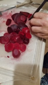 Slice the beets. Small beets can be pickled whole. Larger beets can be sliced in ¼ inch slices or diced.