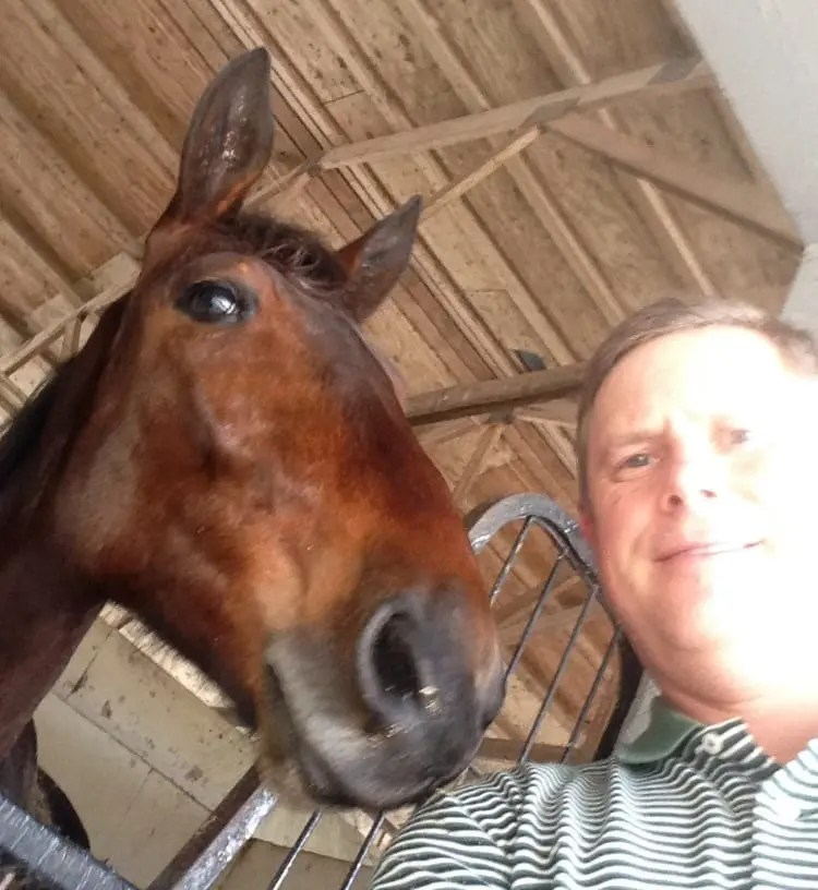 Just last month, Jim Switlyk took this selfie with Selfie Onthe Beach. On March 16, the two-year-old filly died in the barn fire at the South Florida Training Center | Courtesy Jim Switlyk