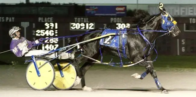 Betting Line recovered from a break in the final turn to draw off and win the $300,000 Carl Milstein Memorial at Northfield with David Miller at the controls | Jeffrey J. Zamaiko