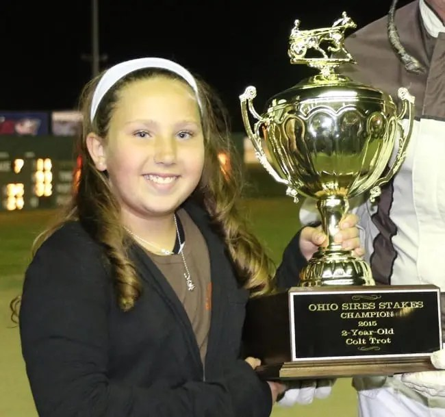 Breana Carsey celebrated a fairytale victory with her baby MJB Got Faith in last year's Ohio Sires Stakes championship for two-year-old trotting colts.
