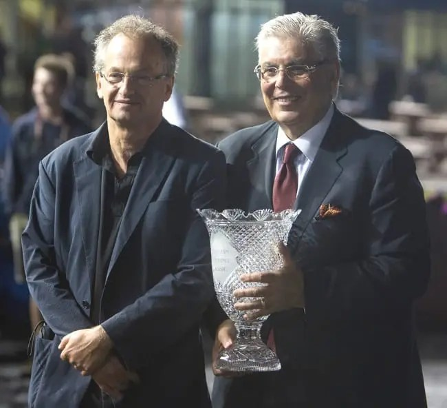 It was an exhilarating night for owners and breeders Al Libfed (left) and Marvin Katz who won the Canadian Trotting Classic with Bar Hopping and finished 1-2 in the Peaceful Way with Ariana G and That's All Moni, respectively. | Dave Landry