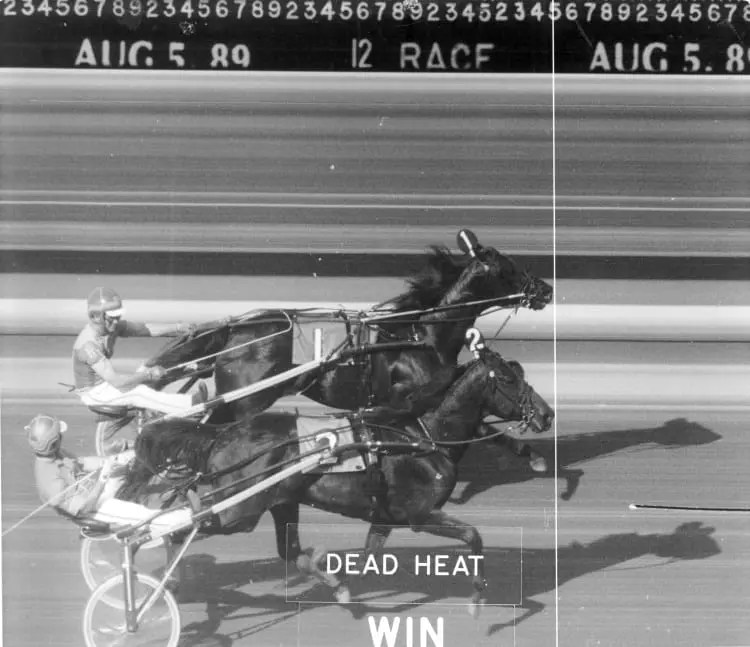 The dead heat in the 1989 Hambletonian was just the beginning of a wacky year for Park Avenue Joe (inside, Ron Waples) who shared the Hambletonian with Probe (Bill Fahy).