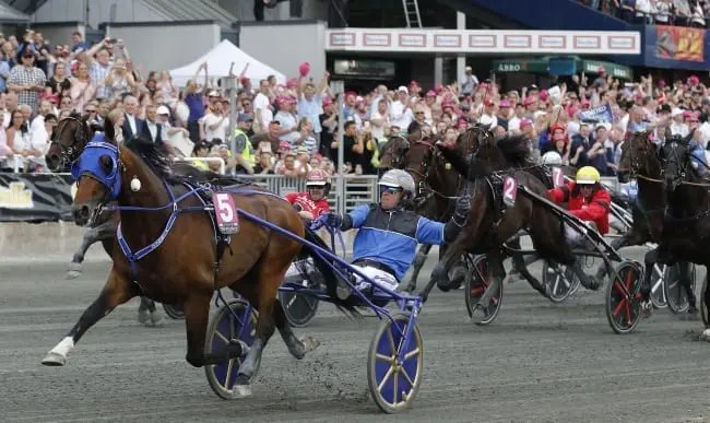 Timoko (Björn Goop) winning the Elitloppet final in front of more than 30,000 fans at Solvalla   Jeannie Karlsson / Sulkysport