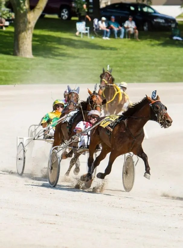 John Campbell (shown leading the field in the 2013 Legends Day Trot), said he's happy it worked out for his last drive to bring his career full circle back to rural Ontario | Dave Landry