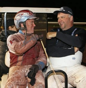 Claus Andersen It was the second Breeders Crown of the night for Matt Kakaley (left) and third for Mickey Burke, Jr. and The Burke Brigade.