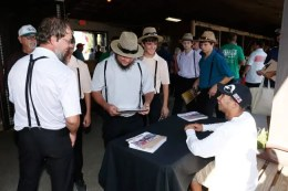 Dave Landry | Montrell Teague signing autographs at the Little Brown Jug in 2016 when Wiggle It Jiggleit met fans a year after Teague drove him to an epic Jug victory.