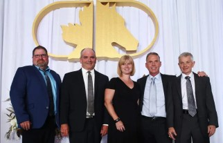 Canadian Horse Racing Hall of Fame | 2019 standardbred inductees to the Canadian Horse Racing Hall of Fame (from left): Pat Woods (representing Angus Hall), Ian Fleming, Linda Bedard (representing Tricky Tooshie), Jimmy Takter and Trevor Ritchie.