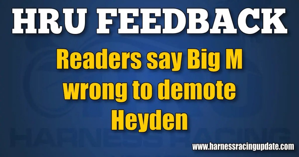Readers say Big M wrong to demote Heyden