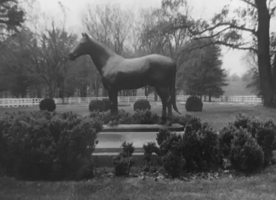 Courtesy Dean Hoffman | The statue of Guy Axworthy that stands sentinel over the famed equine graveyard at Walnut Hall Ltd.