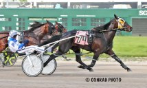 Brad Conrad | Duck Duck Dragon (Chris Page) won the first race at Scioto Downs on Friday's card.