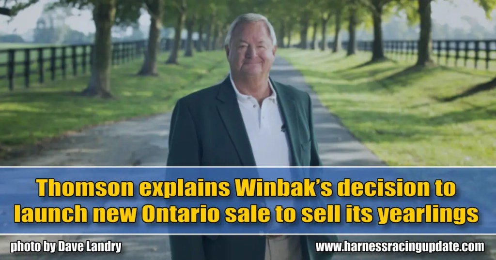 Thomson explains Winbak's decision to launch new Ontario sale to sell its yearlings