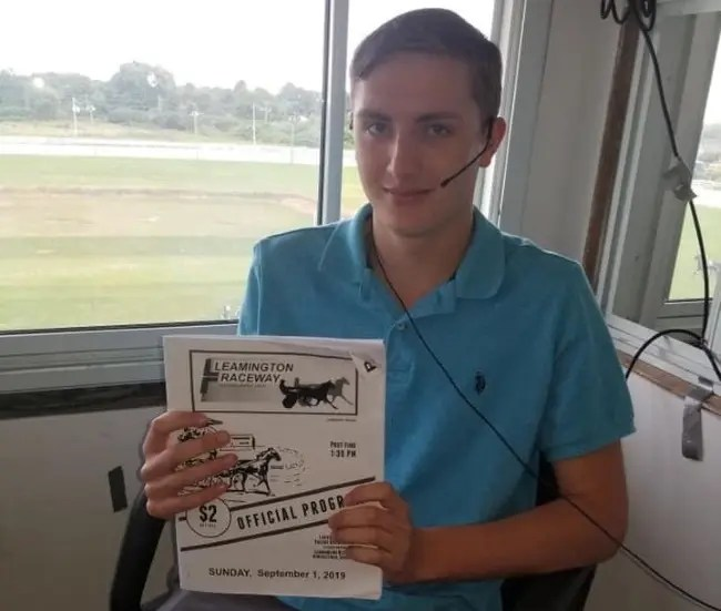Courtesy Nathan Bain | Eighteen-year-old Nathan Bain will become Canada's youngest race caller when Leamington Raceway opens its season on Aug. 9.