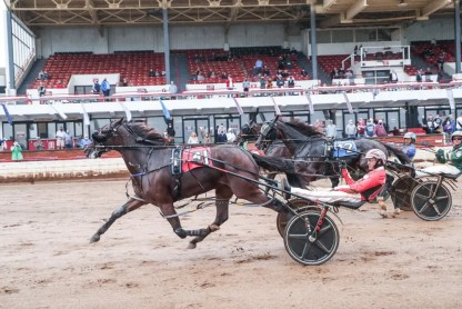 Mark Hall / USTA | Pacing filly Party Girl Hill (Dexter Dunn) defeated the boys in her Tattersalls division in 1:47.2.