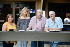 Dave Landry | Nicola Ryder (second from left) and Chris Ryder (far right) with Lisa and Scott Ezzo of Bella Racing Ltd, part-owners of Bettors Wish, at the 2019 Lexington Selected Yearling Sale.