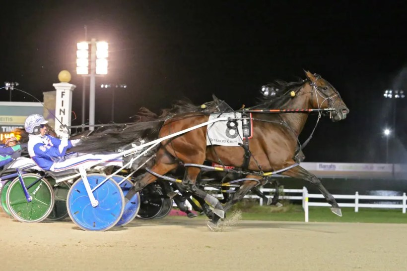 Dean Gillette | Sandbetweenmytoes' (Scott Zeron) 1:48.3 victory in the $500,000 Breeders Crown sophomore pace set a Crown betting record. Bettors sent the gelding off at odds of 203-1. The win price of $409.80 shattered the Crown record established by Kadealia ($152) in the sophomore filly trot in 2008.