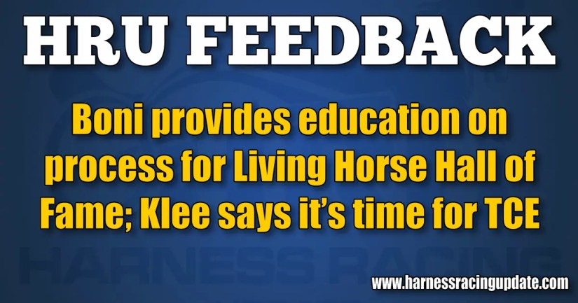 Boni provides education on process for Living Horse Hall of Fame; Klee says it's time for TCE