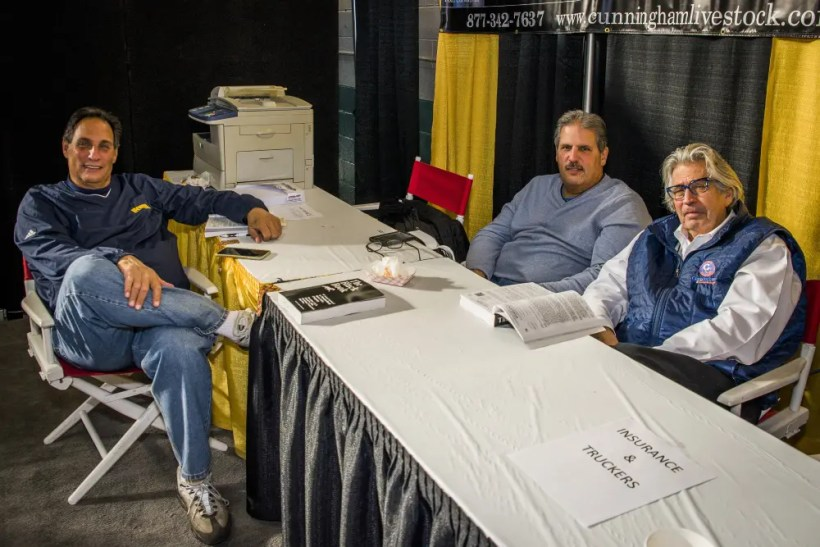 Ryan Randolph | Tom Cunningham (right) with John Cancelliere (left) and his brother Tom Cancelliere at the 2016 Standardbred Horse Sales Company auction in Harrisburg, PA.