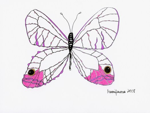 Meditative / Contemplative Drawing of pink translucent butterfly on 6X8 card using Staedler pens and Fineliner markers