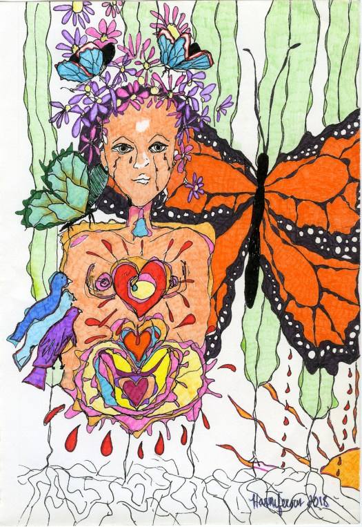 Meditative/contemplative drawing of crying woman, with birds, flowers and butterfly. Staedler pens and fineliner markers. Prints available.