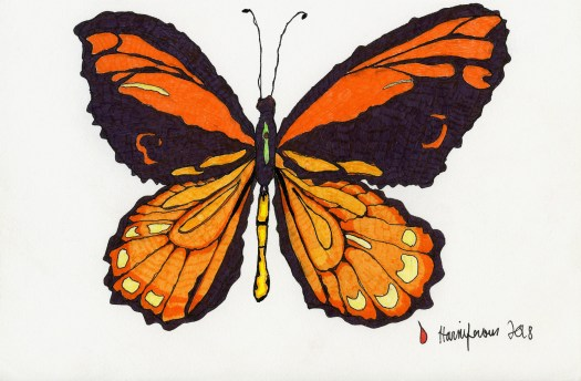 Meditative / Contemplative Drawing of an orange butterfly on 6X8 card using Staedler pens and Fineliner markers