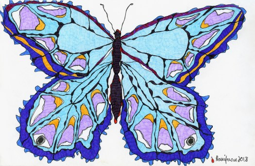 Meditative / Contemplative drawing of Blue Butterfly on 6X8 card using staedler pens and fineliner markers