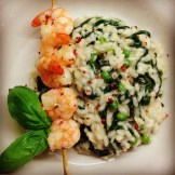 risotto crabe, épinards et pois verts
