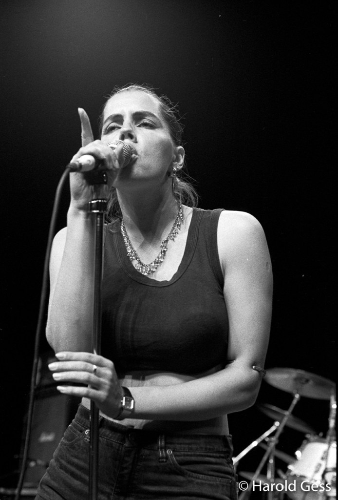 Wendy Oldfield, performing with Sweatband, Grahamstown, 1987