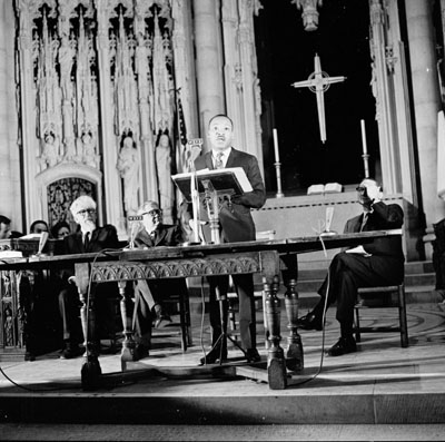 Dr. Martin Luther King, Jr. at Riverside Church, April 4, 1967 delivering his speech against the Vietnam War