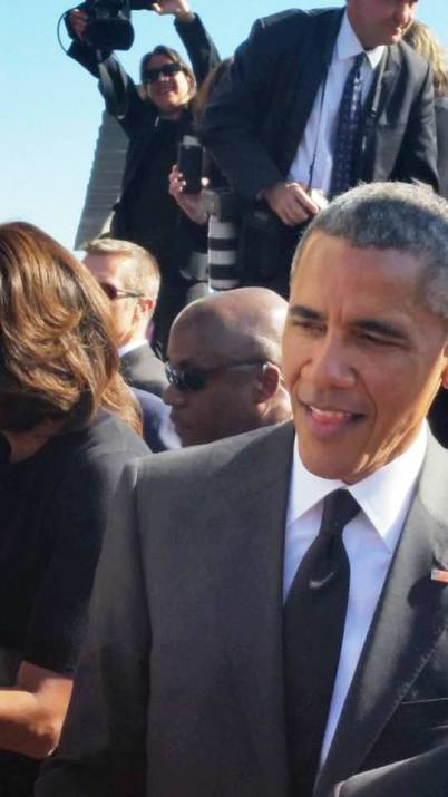President Barack Obama gathered with his family on the Edmund Pettus Bridge to observe the 50th anniversary of Selma's Bloody Sunday. He urged Congress to restore the 1965 Voting Rights Act. Photo Credits: Kendra Hart,Ph. D.