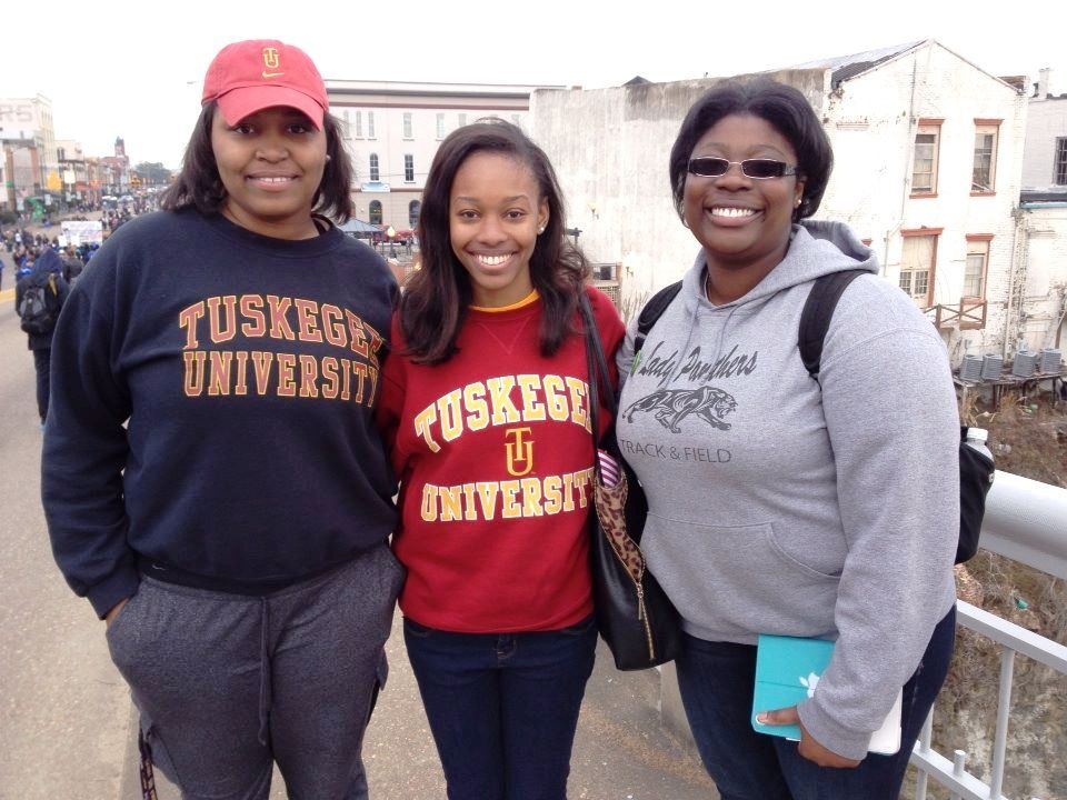 These three ladies are students at Tuskegee University. They came to show their respect to the heroes of Selma. Their majors represents the diversity of Tuskegee University. From left to right there is a future Nutritionist, a Social Worker, and Engineer. TU you know!