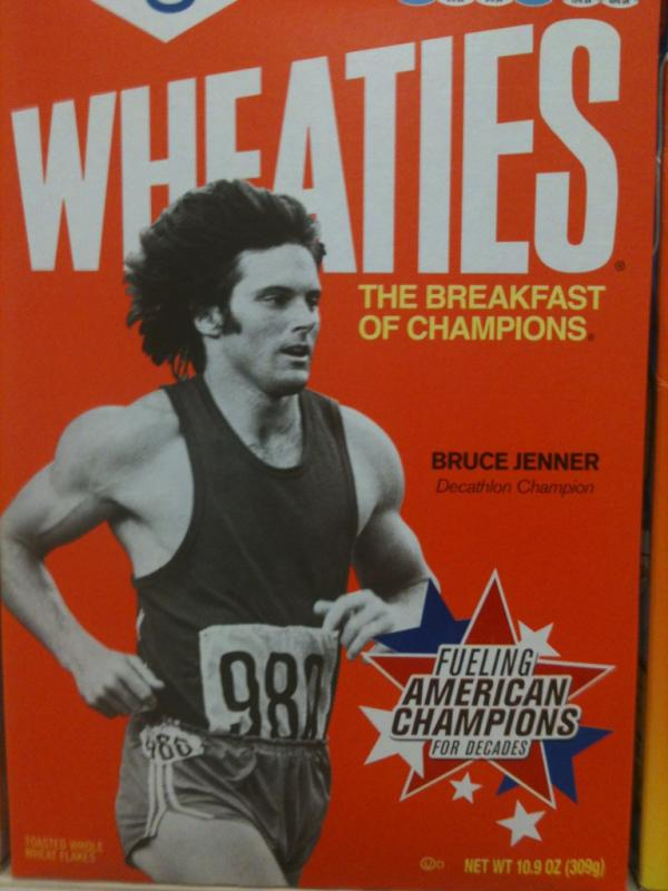 The former Bruce Jenner on the cover of a Wheaties cereal box in 1976