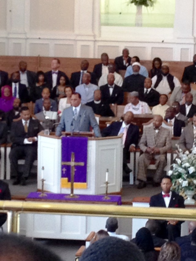 Honorable Louis Farrakhan speaking at West Hunter Street Baptist Church Photo Credit: Harold Michael Harvey