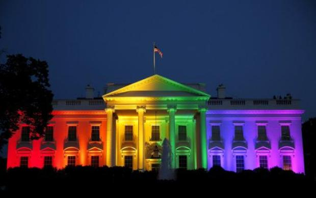 The White House in the rainbow colors in support of  a new constitutionally protected class.