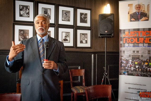 Harold Michael Harvey responding to a comment during the Town Hall discussion on Justice and Race in America at Sweet Auburn Seafood.