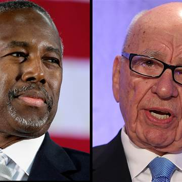 From L-R Ben Carson, a retired neurosurgeon who is a leading candidate to receive the Republican nomination for president and Rupert Murdoch who says that Carson will be a real black president unlike President Obama is of interracial heritage.  Photo Credits: NBC