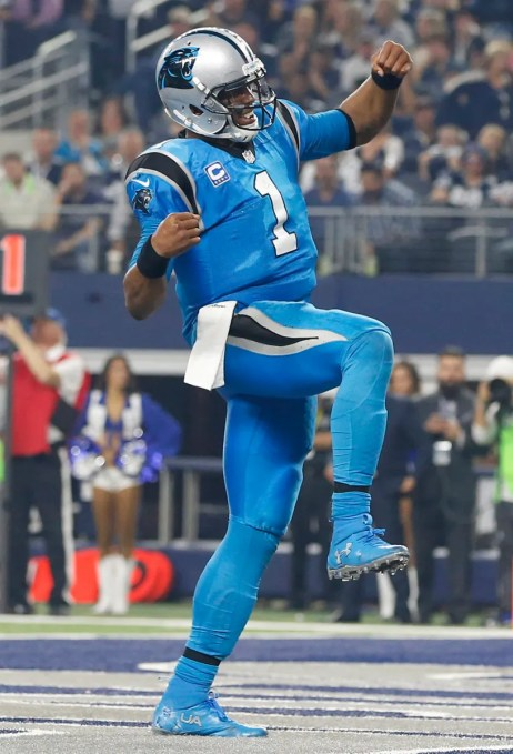 Nov 26, 2015; Arlington, TX, USA; Carolina Panthers quarterback Cam Newton (1) reacts after scoring a touchdown against the Dallas Cowboys during the third quarter of a NFL game on Thanksgiving at AT&T Stadium. Mandatory Credit: Tim Heitman-USA TODAY Sports