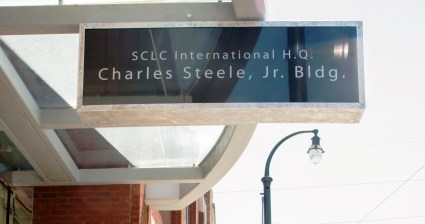 New signage goes up at SCLC International Headquarters June 21, 2016.