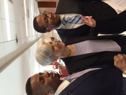 From Left to Right, Jrmar Jefferson a former Bernie Sanders Delegate who traveled to Houston to pledge his support to Green Party Presidential Candidate, Dr. Jill Stein in the middle and a unnamed political aid of Jrmar Jefferson on the right. Photo Credit: (c) 2016 Harold Michael Harvey