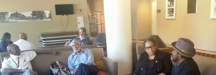 Concerned Tuskegee Alumni camped out in the lobby of the Kellogg Conference Center waiting for a Trustee member to walk by so they could lobby for a vote to terminate the contract of President Brian Johnson. Photo Credit: Gene Cummings