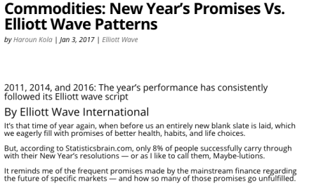 Commodities: New Year's Promises Vs. Elliott Wave Patterns
