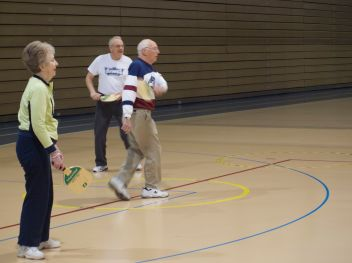 A fun, heated game of Healthy Living's version of pickleball!