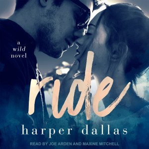 The cover of Ride's audiobook, showing a man and a woman about to kiss.
