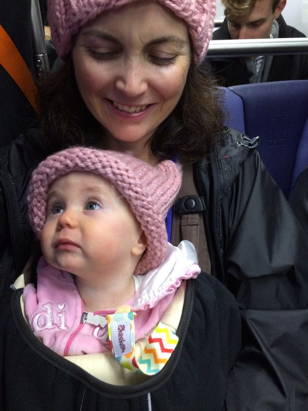 Riding the Metro home with the youngest, newest protester.
